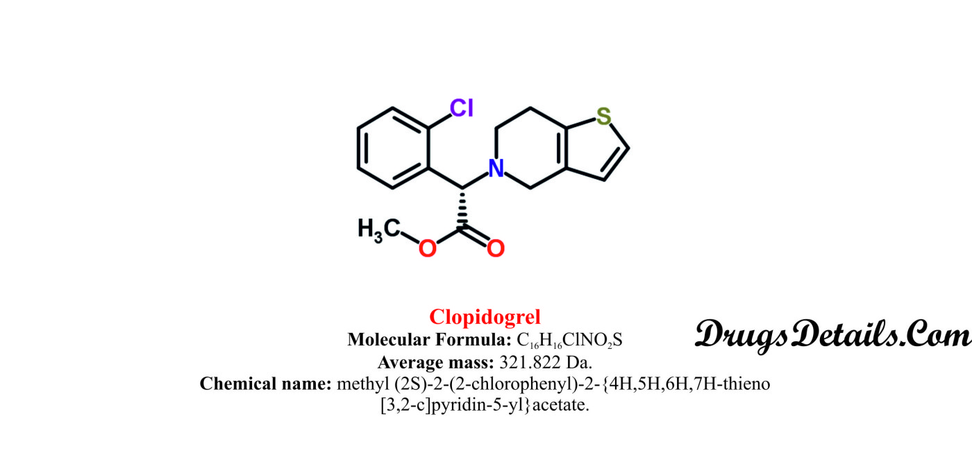 Clopidogrel : Structure and chemical information.