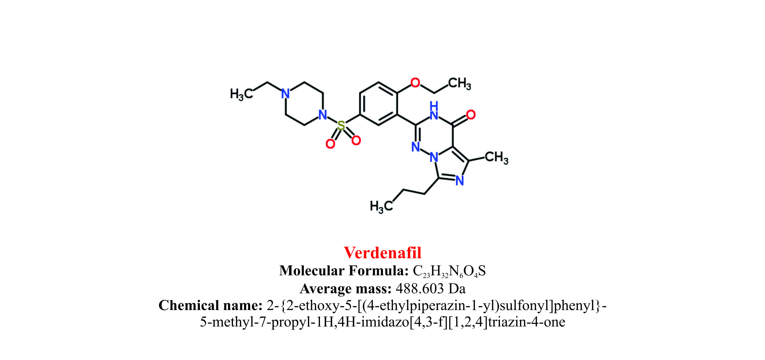 Vardenafil : Structure and chemical information.