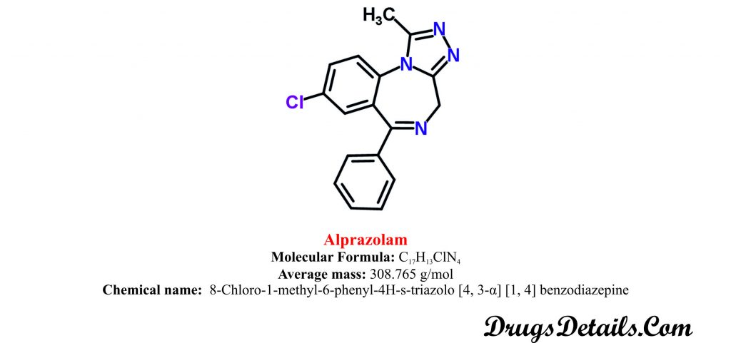 Alprazolam:Structure and chemical information.