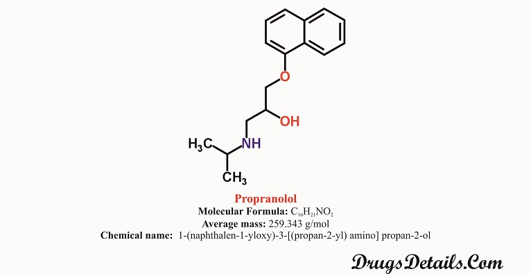 Propranolol : Structure and chemical information.