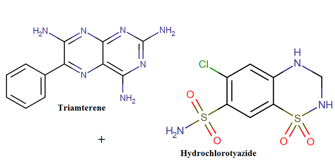 Molecular formula, class and weight of triamterene/hydrochlorothiazide