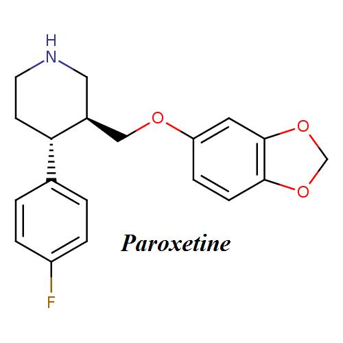 Paroxetine molecular formula, weight, chemical name, drug class