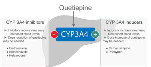 Metabolism and elimination for Quetiapine